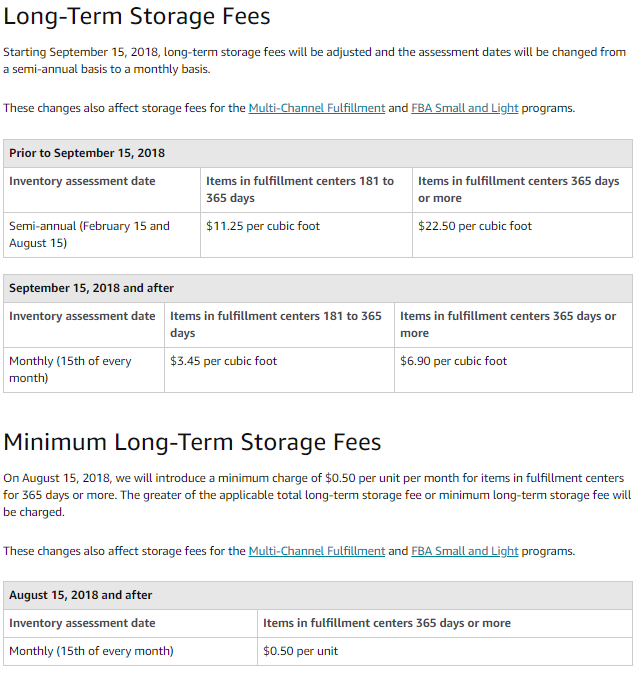 The greater of the applicable total long-term storage fee or minimum long-term storage fee will be charged.  sc 1 st  Macarta & 2018 Amazon FBA Long-Term Storage Fee Breakdown u0026 FAQs Macarta