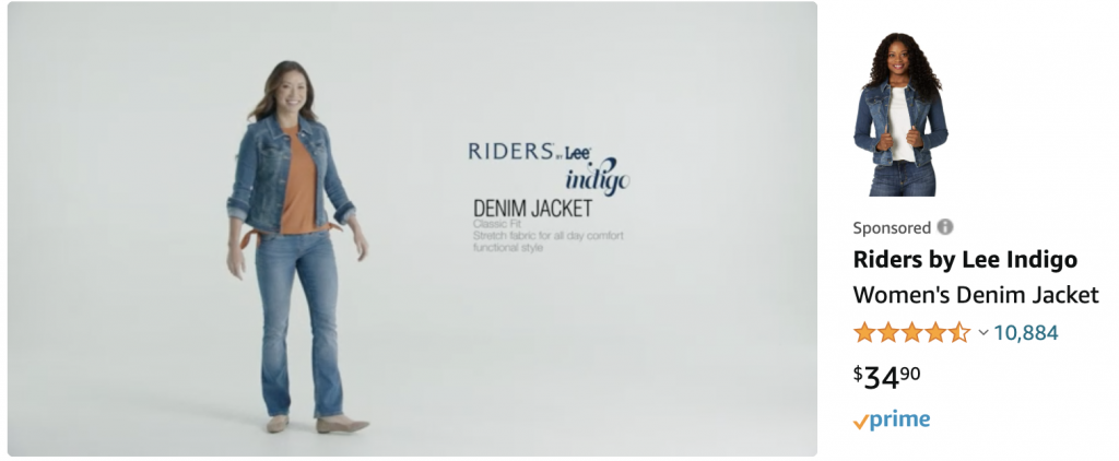 A Riders by Lee Indigo Women's Denim Jacket Sponsored Brands video ad campaign on Amazon